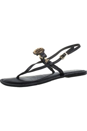 Tory Burch Black Leather Logo Embellished Flat Thong Slingback Sandals Size 37