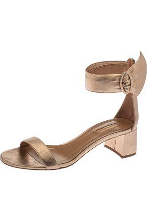 Aquazzura Light Copper Leather Palace Block-heel Sandals Size 40.5