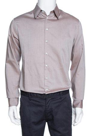 Armani Brown Diagonal Striped Cotton Long Sleeve Shirt M