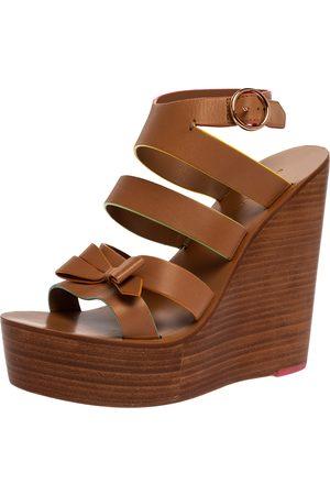 SOPHIA WEBSTER Brown Leather Samara Strappy Wedge Platform Ankle Strap Sandals Size 39.5