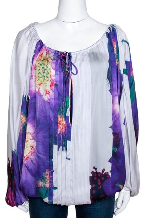 Roberto Cavalli Purple Floral Print Silk Sheer Kaftan Top M