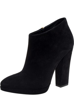 Giuseppe Zanotti Black Suede Block Heel Ankle Boots Size 38.5