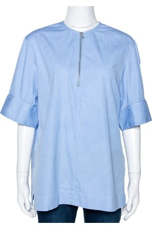 Joseph Blue Pinstripe Cotton Brair Blouse L