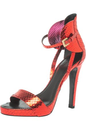 Givenchy Metallic Red Python Ankle Strap Sandals Size 39
