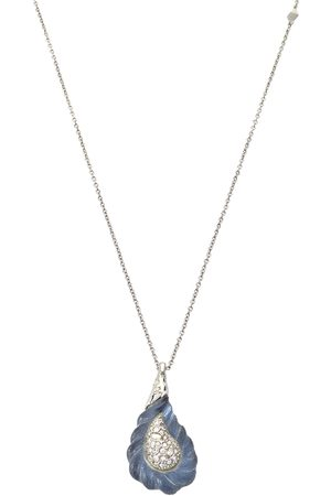 Alexis Bittar Silver Tone Frosted Crystal Encrusted Pendant Necklace
