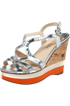 Prada Silver Leather Cork Platform Wedge Sandals Size 39