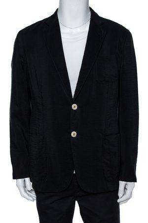 Armani Navy Blue Silk Button Front Blazer XXL