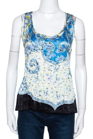 Roberto Cavalli Blue Abstract Printed Semi Plisse Silk Sleeveless Top L