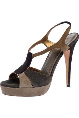 Saint Laurent Tri Color Suede Slingback Platform Sandals Size 40.5
