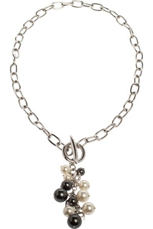 Aigner Silver Tone Faux Pearl Tasseled Necklace