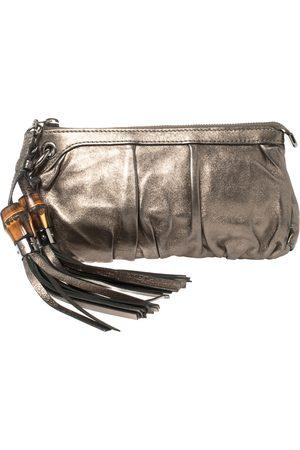 Gucci Gunmetal Leather Bamboo Tassel Clutch