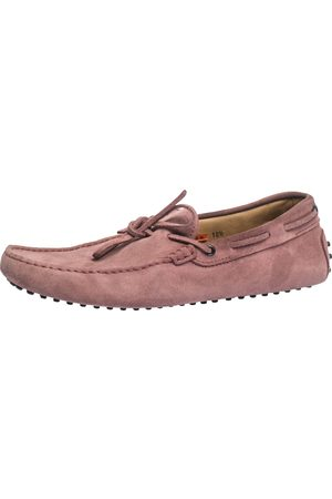 Tod's Pink Suede Bow Detail Driving Loafers Size 45