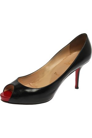 Christian Louboutin Black Leather Very Prive Peep Toe Platform Pumps Size 40