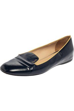Prada Blue Patent Leather Smoking Slippers Size 39.5