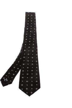 Armani Black Logo Jacquard Silk Tie