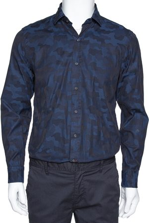 Ralph Lauren Navy Blue Camo Pattern Cotton Long Sleeve Shirt M