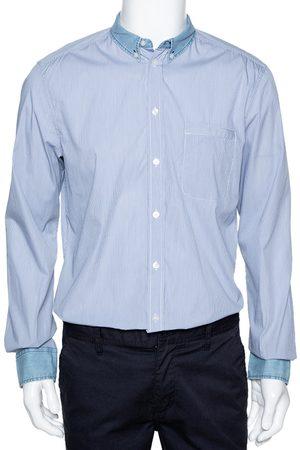 DandG D&G Blue Checked Cotton Denim Trim Long Sleeve Brad Shirt XL