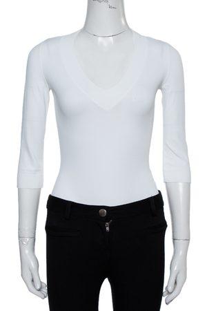 Alaïa White Jersey V-Neck Bodysuit M