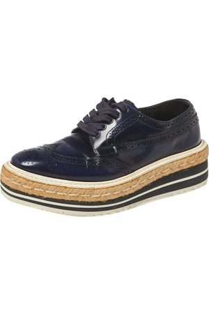 Prada Blue Brogue Leather Derby Lace Up Espadrille Sneakers Size 35.5