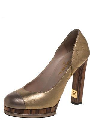 CHANEL Metallic Gold/Bronze Quilted Leather CC Platform Pumps Size 39