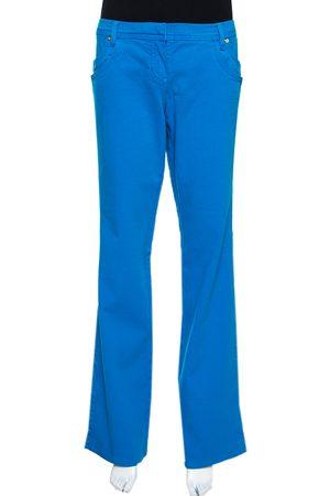 Roberto Cavalli Blue Stretch Cotton Straight Leg Jeans L