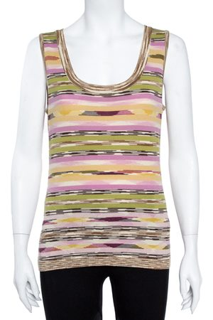 M Missoni Multicolor Wool Stripe Knit Tank Top and Cardigan Set L