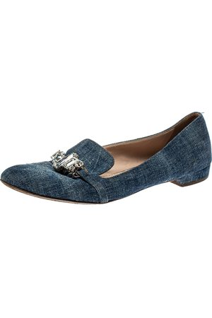 Miu Miu Blue Denim Crystal Embellished Smoking Slippers Size 40