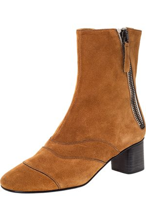 Chloé Brown Suede Block Heel Ankle Boots Size 37.5