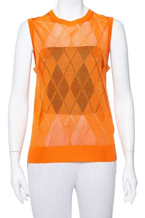 Burberry Orange Argyle Pattern Pointelle Knit Sleeveless Vest M