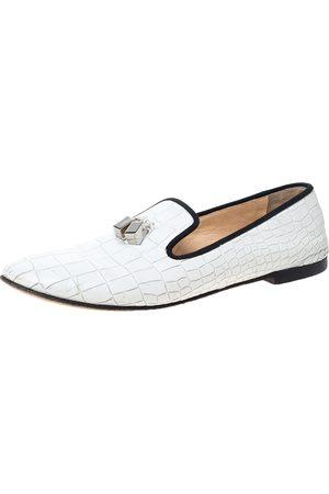 Giuseppe Zanotti White Croc Embossed Leather Smoking Slippers Size 39