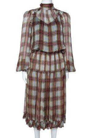 DandG D&G Grey Plaid Print Silk Ruffled Midi Dress M