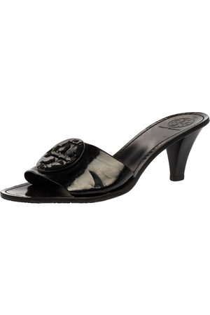 Tory Burch Black Patent Leather Logo Open Toe Sandals Size 38.5