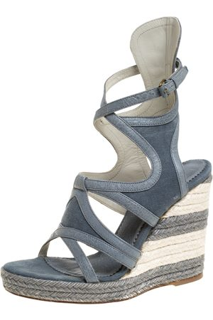 Balenciaga Grey Denim and Leather Trim Gladiator Wedge Platform Sandals Size 39