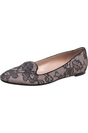 VALENTINO Pink/Black Lace Smoking Slippers Size 40