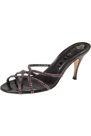 Gina Plum Leather Crystal Embellished Slide Sandals Size 40