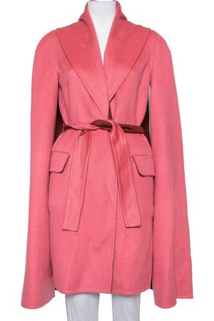Max Mara X Atelier Coral Pink Cashmere Belted Cape Coat M