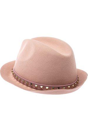 VALENTINO Garavani Powder Pink Rabbit Fur Felt Rockstud Detail Fedora Hat M