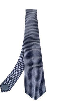 HUGO BOSS Grey & Blue Checkered Silk Tie