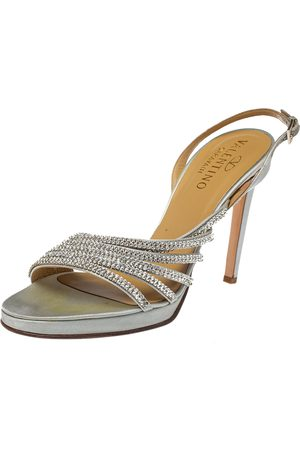 VALENTINO Light Grey Satin Crystal Embellished Slingback Sandals Size 39.5