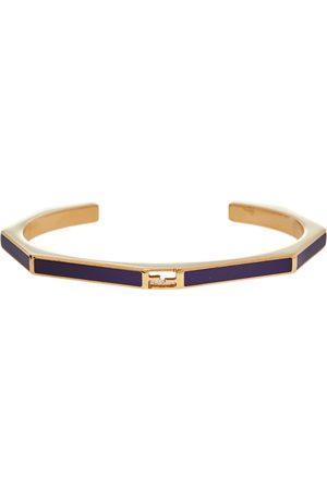 Fendi Purple Gold Tone Open Cuff Bracelet S