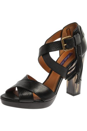 Ralph Lauren Black Leather Criss Cross Ankle Strap Sandals Size 38