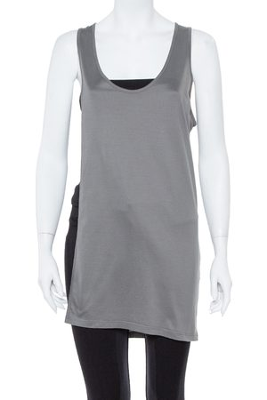 Dior Grey Cotton Open Asymmetric Tank Top S