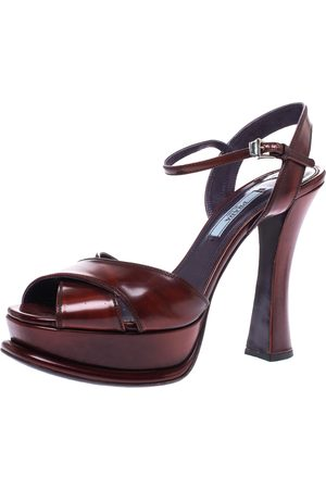 Prada Brown Leather Cross Strap Open Toe Platform Ankle Strap Sandals Size 38