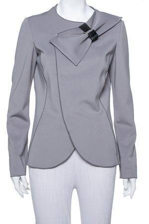 Emporio Armani Anthracite Neoprene Bow Detail Jacket L