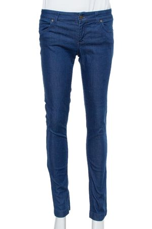 Gucci Navy Blue Stretchable Denim Leggings S
