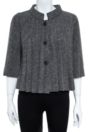 Emporio Armani Grey Wool Pleated Cape Jacket L