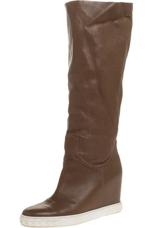 Casadei Brown Leather Chain Motif Knee Boots Size 39