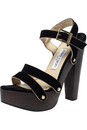 Jimmy Choo Black Suede Wooden Platform Ankle Strap Sandals Size 38
