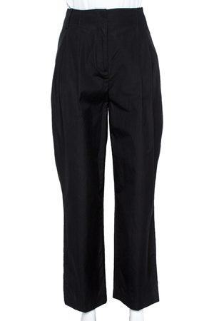 Diane von Furstenberg Black Cotton Pleat Front Tapered Pants S