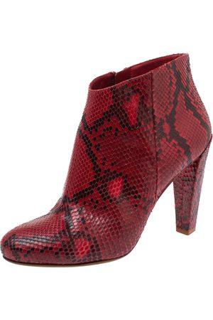 Céline Red Python Block Heels Ankle Boots Size 38